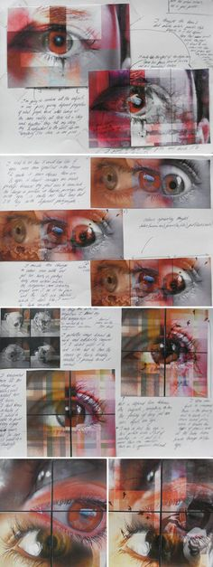 to draw realistic eyes within a high school Art project Composition development by Elena Tomas Bort from the Laude British School of Vila-real, Spain.Composition development by Elena Tomas Bort from the Laude British School of Vila-real, Spain. A Level Art Sketchbook, Sketchbook Layout, Arte Sketchbook, Sketchbook Ideas, Sketchbook Inspiration, High School Art Projects, Art School, Photography Sketchbook, Realistic Eye Drawing