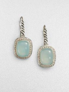 David Yurman - Diamond Accented Aqua Chalcedony Earrings - Saks.com