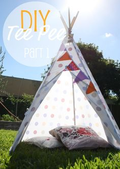 This Tee Pee is a fun weekend project that can be used either indoors on a rainy day, or in the back yard when the sun is out. We've made it with an old bed sheet to save money on fabric.  PART 1