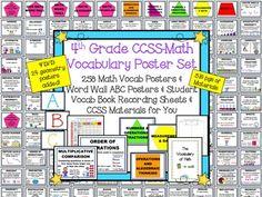 4th Grade Common Core Math Vocab Posters!