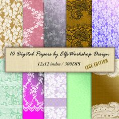 Lace Vintage Digital Papers for Scrapbooking by TheElfsWorkshop