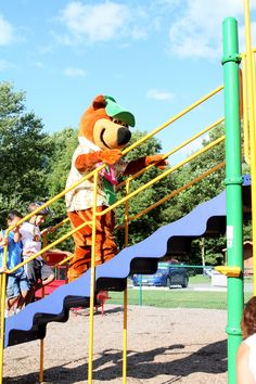 Yogi having fun on the playground