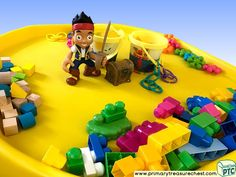 Pirates - Jake Themed Construction Multi-sensory Tuff Tray Ideas and Activities