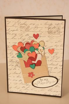 Items similar to Be My Valentine Card, Hearts Popping Card, Colorful Hearts, Valentine's Day Card, Handmade Card on Etsy Invitation Paper, Invitations, Be My Valentine, Greeting Cards Handmade, Scrapbook Paper, Vintage World Maps, Hearts, Colorful, Creative