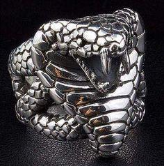 Silver Snake Ring, Biker Ring, Silver Gothic Ring, Cobra Ring, Men's Ring by SterlingMalee Gothic Jewelry, Silver Jewelry, Jewelry Rings, Jewelry Watches, Skull Jewelry, Gold Jewellery, Ring Designs, King Cobra Snake, Animal Rings