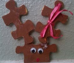 Reindeer Puzzle Piece Christmas Ornament Craft for Children - Yahoo! Voices - voices.yahoo.com