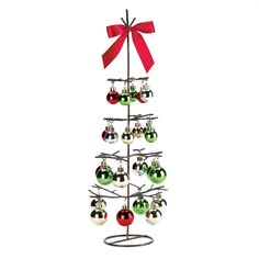 Wholesale Wire Holiday Tree With Ornaments And Satin-Finish Bow Tabletop Decor