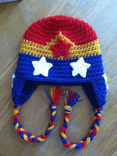 Crochet Wonder Woman Hat by QBsquared on Etsy https://www.etsy.com/listing/181324946/crochet-wonder-woman-hat