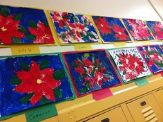 Lesson by Jen - Poinsettia sponge paintings – Impressionism/Renoir | Art Docents