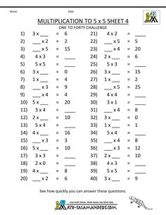 Multiplication to 5x5 Worksheets for 2nd Grade