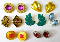 LOT 7 Vintage Earrings - Mixed Lot Fashion Clip-ons & Pierced - 1980-90s