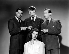 Cary Grant, James Stewart, Katharine Hepburn and John Howard in a publicity photo for The Philadelphia Story (1940).  La classe!!!