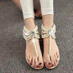 Rhinestone Ankle-Bracelet Sandals