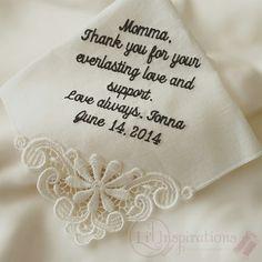 Wedding Bride, Dream Wedding, Wedding Day, Perfect Gift For Mom, Gifts For Mom, Wedding Handkerchief, Everlasting Love, Love Always, Handmade Wedding