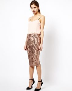 Image 1 ofRiver Island Sequin Pencil Skirt