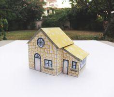 DIY Yellow Christmas Cottage  Digital Download cheery by Kalatirth