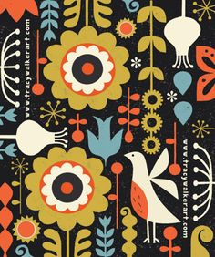 A Bird in the Garden is a limited edition giclee print of an original illustration by Tracy Walker. The edition is limited to 100 prints, Graphic Patterns, Textile Patterns, Print Patterns, Textiles, Scandinavian Pattern, Scandinavian Folk Art, Surface Pattern Design, Pattern Art, Nature Pattern