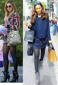 Celeb Style Stalk on the Essex'ee Legs Blog- http://essexeelegs.blogspot.co.uk/2014/10/opaques-hosiery-plus-size-opaque-tights.html?m=1 #opaques #tights #ankleboots #AbbeyClancy #RochelleHumes