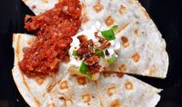 Waffled quesadillas with roasted tomato salsa - Waffleizer