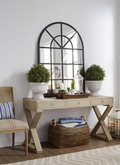large mirror, console table, hallway                                                                                                                                                      More