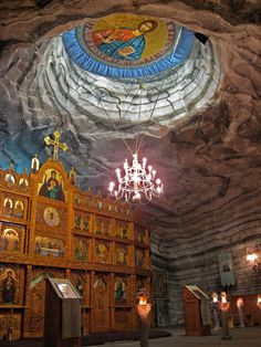Church in Underground Salt Mine in Romania. Several hundred meters below ground, it was built for the workers of the salt mine.