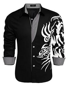 COOFANDY Mens Print Button Down Dress Shirt Fashion Long Sleeve Casual  1X-Large  fashion d988bb6e70