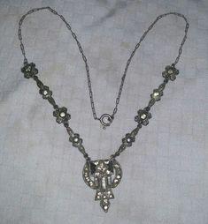 Vintage ART DECO Clear Paste Pave RHINESTONE Necklace Silver Tone Metal #Pendant