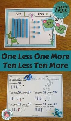 This free frog themed resource is designed to help develop conceptual understanding of one less/ more and ten less/ more for numbers 0-120 using base ten blocks with first and second graders.