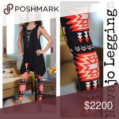 """•Santa Fe Sunset Tribal Coral Black Leggings• Buttery soft leggings in a Boho Aztec print (coral, cream & black) perfect for spring! Similar to LLR OS. They offer the perfect warmth, length & fit. A closet staple for me & a customer 5🌟 rated. Check out my closet for other colors/prints/tunics/lace extenders to pair w/ these & bundle for a discount. I am a 10/12 & 5'9"""" tall & they fit perfect (pic 5), model pic 1 is a 2/4 & 5'4"""" tall, so these fit a wide range of sizes. Waist is a comfy…"""