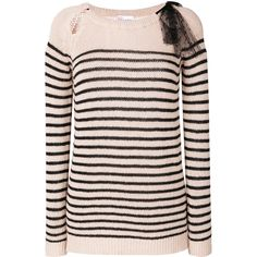 Red Valentino striped jumper ($450) ❤ liked on Polyvore featuring tops, sweaters, black, stripe sweater, striped top, red valentino top, striped jumper and red valentino sweaters