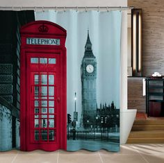 Big Ben & London Telephone Booth Fabric Shower Curtain