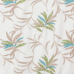 """Tropic floral in Green & Blue color with embroidery leaf pattern on linen for scarf swag, fabric by bolt, drapes in standard size length or extra long 108"""" inch curtains or 120"""" inch ready-made draperies 