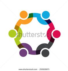 Social Network people logo, Group of 6 people business men.