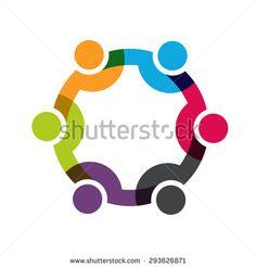 Social Network people logo, Group of 6 people business men.