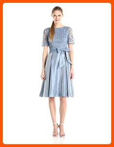 Adrianna Papell Women's Shimmer Skirt with Lace Bodice Dress, Dusty Blue, 12 - All about women (*Amazon Partner-Link)