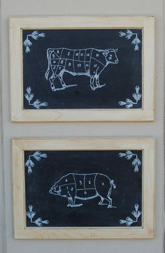 French Country hand painted butches charts chalk boards