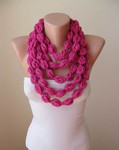 Gift - Valentine s Day - Wool Crochet Chain Knit Necklace Scarf - Pink -  Soft - 3f0f303cfc9e