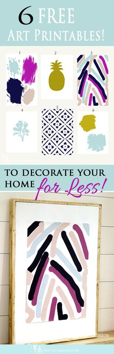 6 fun Free Abstract Art Printables to help you decorate for less!  Also a tutorial of how to get the impact of big wall for A LOT less!:-)  Provident Home Design.