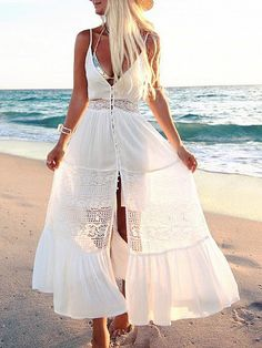 Shop White V-neck Lace Paneled Spaghetti Strap Maxi Beach Dress at victoriaswing, personal womens clothing online store! high quality, cheap and big discount, latest fashional style! White Spaghetti Strap Dress, Lace Dress, White Dress, Boho Dress, Maxi Robes, Necklines For Dresses, Beachwear For Women, White V Necks, Casual Dresses For Women