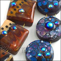 Polymer clay beads tutorial, Faux Lampwork with Abstract Design polymer clay and resin tutorial