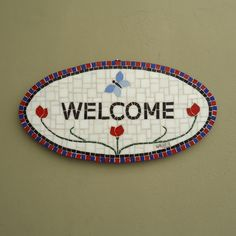 Placa Welcome em mosaico - Oval
