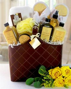 """""""Invigorating Spa Gift Basket"""" gift idea: """"When you feel like a basket case, take a break. And slow your pace. Homemade Gift Baskets, Mother's Day Gift Baskets, Themed Gift Baskets, Basket Gift, Spa Basket, Basket Ideas, Christmas Baskets, Christmas Gifts, Spa Items"""