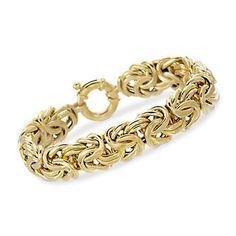 Italian 14kt Yellow Gold Byzantine Bracelet. 7.5-inch