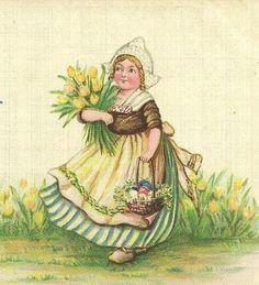 Dutch girl with yellow tulips on Vintage Sam by TheOldBarnDoor, $5.00