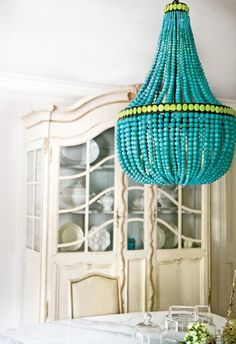 turquoise beaded chandelier - color of the month- tantalizing turquoise (home design and decorating ideas, trends, and inspiration) - Update Dallas Deco Turquoise, Turquoise Chandelier, Beaded Chandelier, Turquoise Glass, Unique Chandelier, Chandelier Lighting, Vintage Chandelier, Nursery Chandelier, Home Decor Ideas