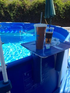 Smart! Drink, phone holder for above ground pool! Cheap! Plastic tray, PVC pipe & foam noodle!http://www.poolsoftupelo.com/abovegroundpools.htm