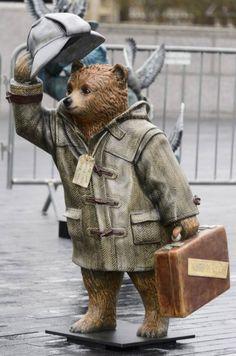 Mandatory Credit: Photo by Ray Tang/REX (4230974ab)  A Paddington Bear named Sherlock Bear decorated by Benedict Cumberbatch  Hugh Bonneville launching The Paddington Trail, London, Britain - 03 Nov 2014