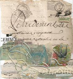 Carte :collages et coutures