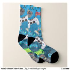 Video Game Controllers Gamer Fun Colorful Socks - Fancy Customizable All-Over-Print Crew Socks By Talented Fashion And Graphic Designers - Crazy Socks, Cool Socks, Men's Socks, Colorful Socks, Designer Socks, Cool Gifts, Christmas Stockings, Personalized Gifts, Custom Design