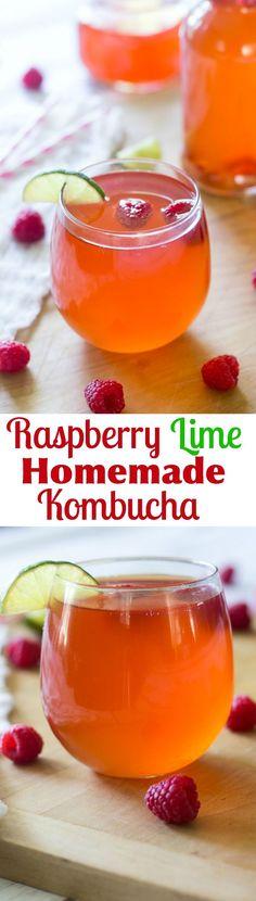 Raspberry Lime Homemade Kombucha - Paleo, Whole30 friendly, vegan and tons of health benefits